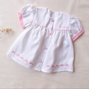 Vintage BUNNYKINS Deadstock white pink bunny dress